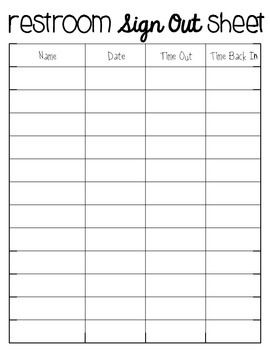 Bathroom sign out sheet pdf