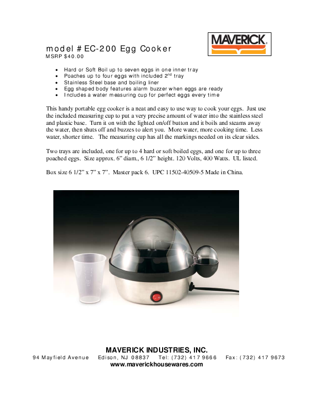 maverick egg cooker instructions