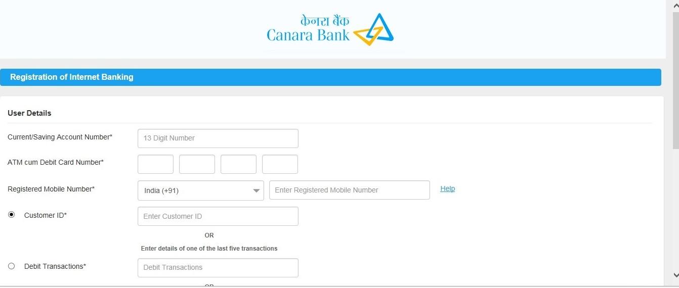 Canara bank net banking application form