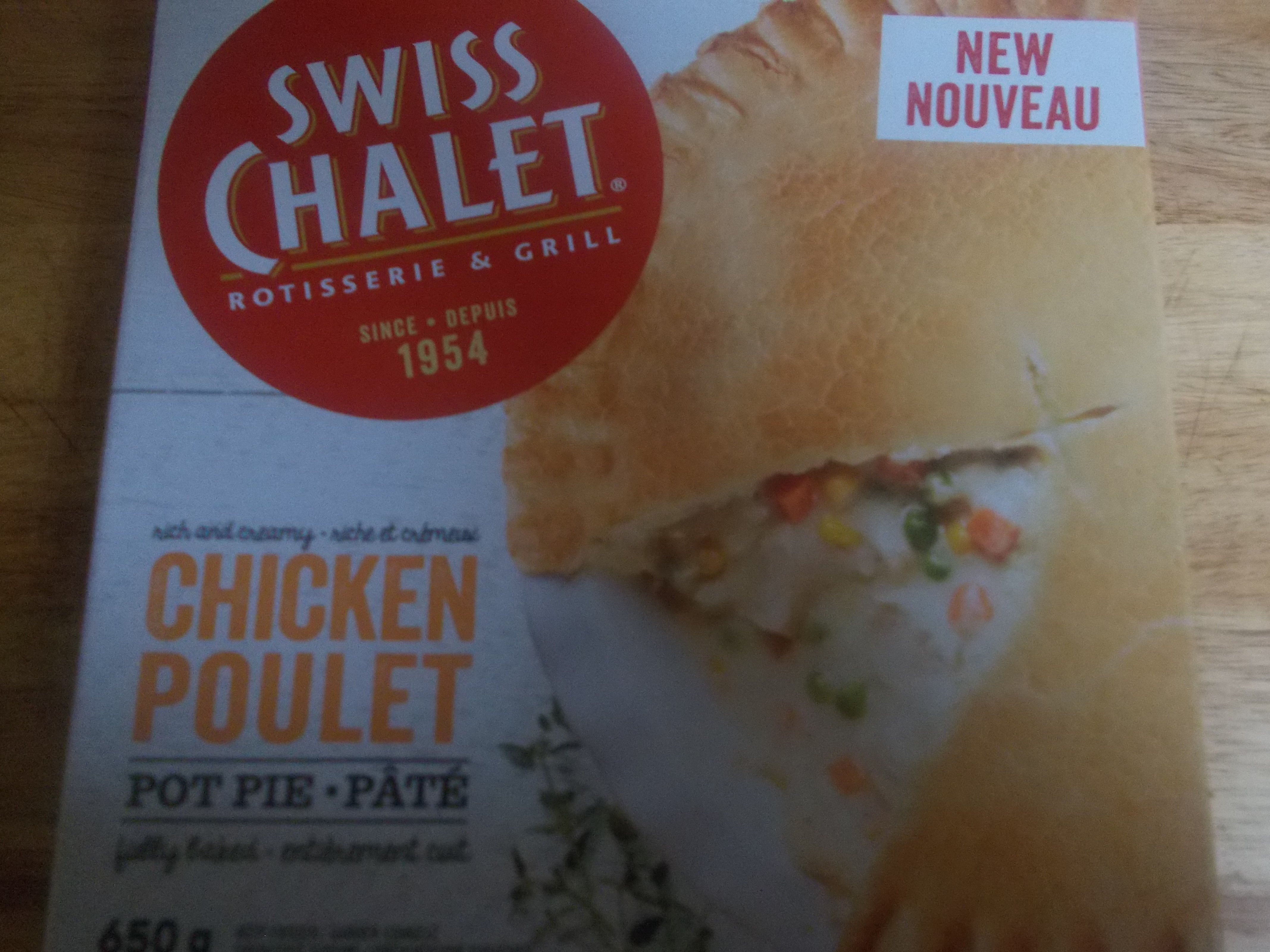 swiss chalet chicken pot pie frozen instructions