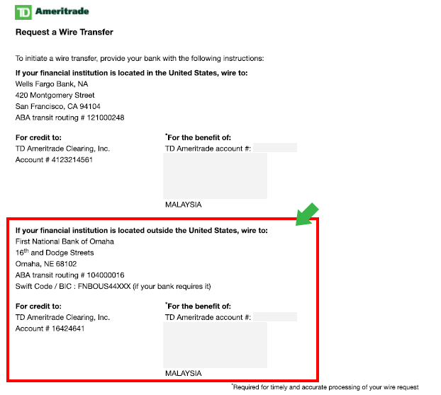 td bank wire instructions canada