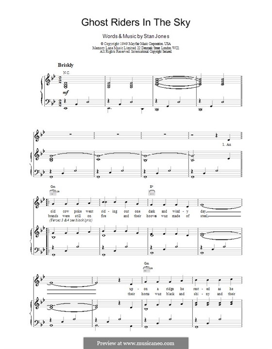 Ghost riders in the sky sheet music pdf