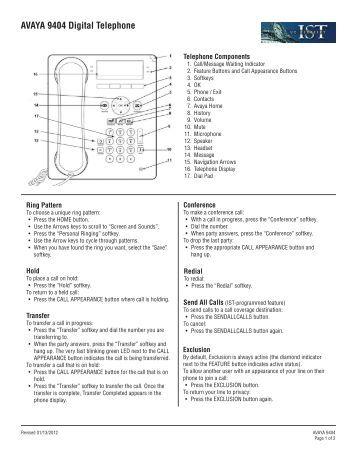 avaya model 9611g user manual