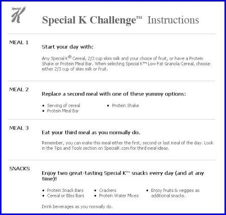special k diet plan instructions
