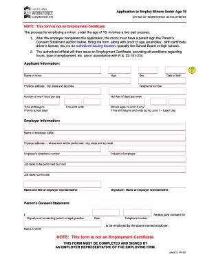 Bcid application for under 18