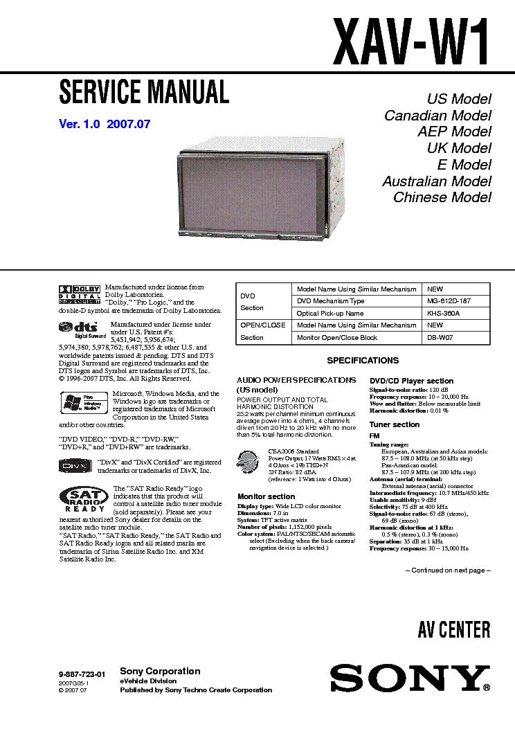 sony xplod xav w1 manual