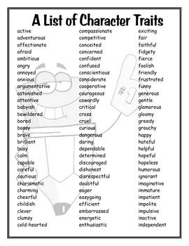 Character traits list middle school pdf
