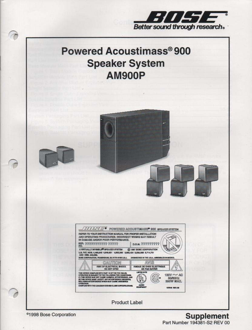 Bose Acoustimass 10 Series Ii Outputs Manual Guide