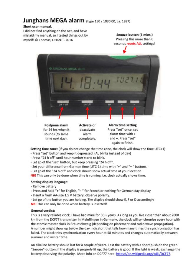 junghans mega alarm 1 manual