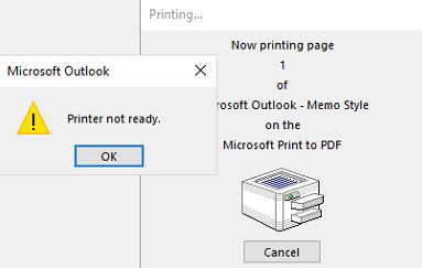 Microsoft print to pdf printer not ready