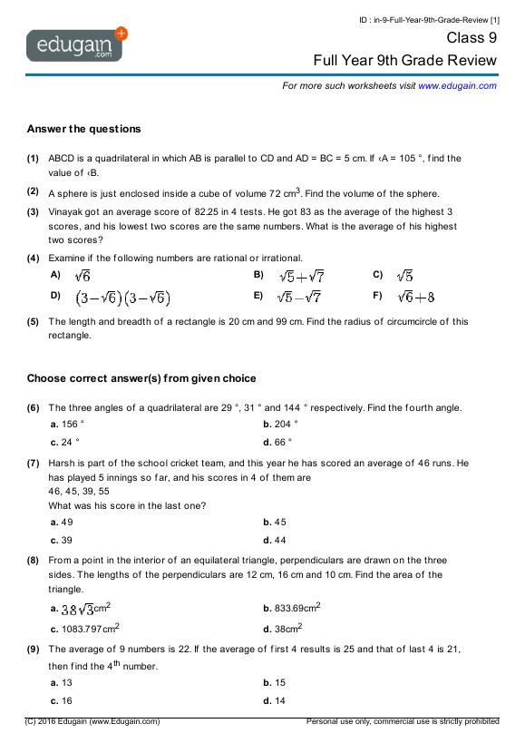 9th grade biology worksheets pdf