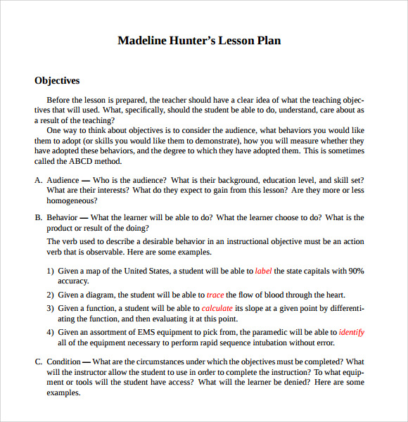Madeline hunter lesson plan template word document