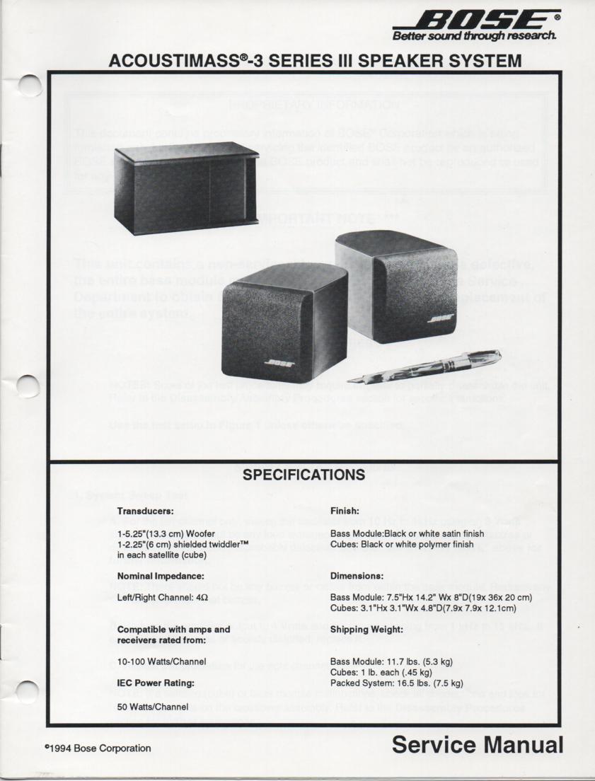 Bose acoustimass 10 series ii manual