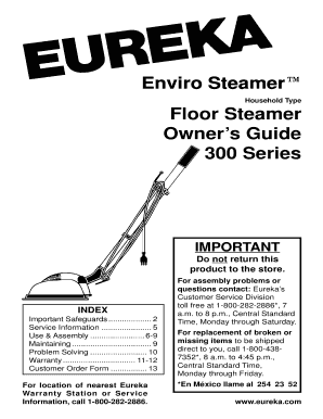 Eureka enviro steamer 300 manual