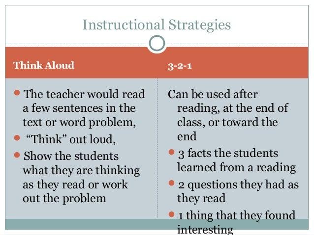 procedure for think-aloud instruction