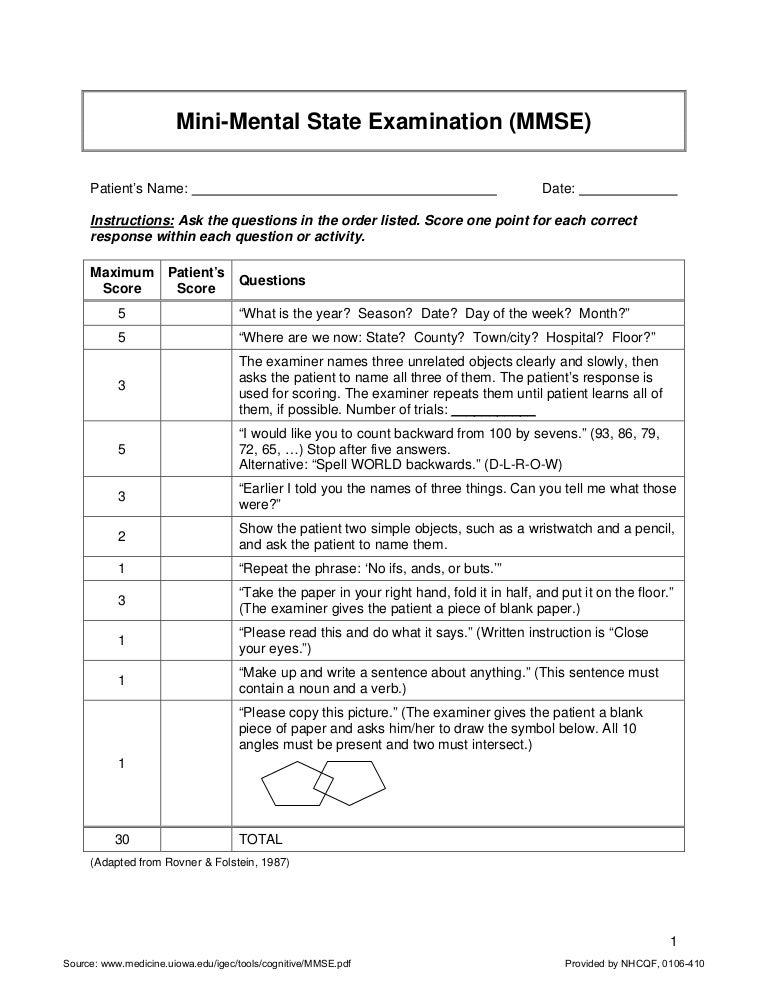 Folstein mini mental status exam pdf
