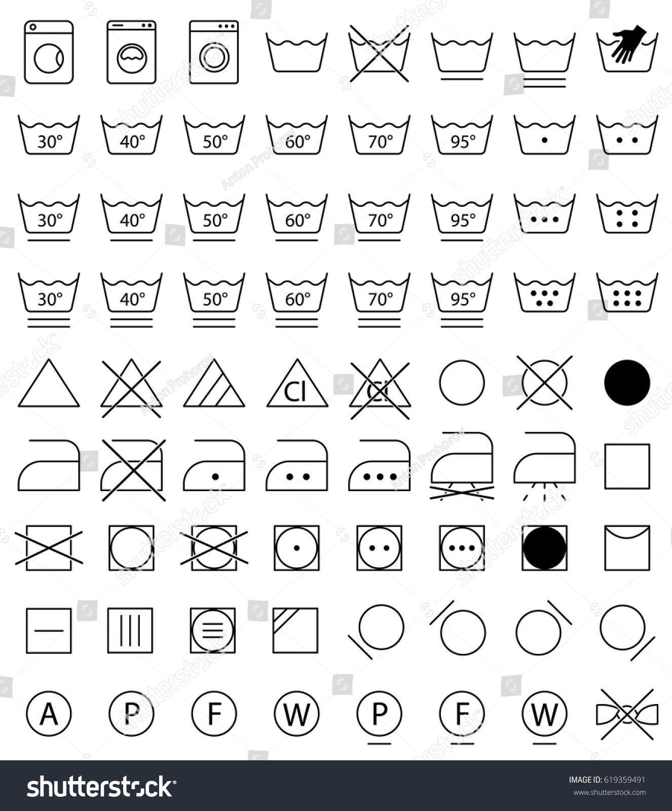 laundry wash instruction labels