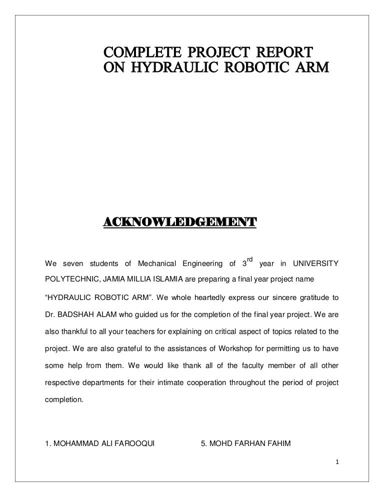 Syringe actuated mechanical arm project report pdf